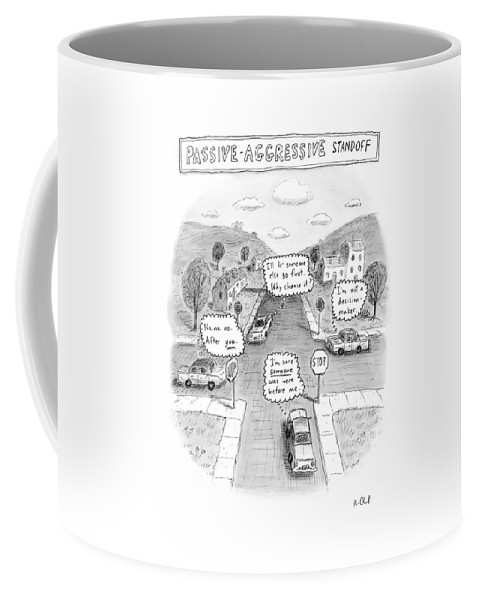 Autos Safety Traffic Driving  (the Thoughts Of Drivers Stalled At A Four Way Stop Sign Intersection.) 122221 Rch Roz Chast Coffee Mug featuring the drawing Passive-aggressive Standoff by Roz Chast