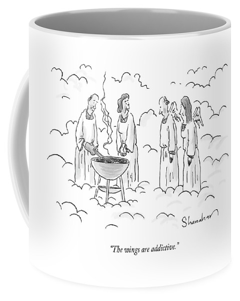 Angels Coffee Mug featuring the drawing The Wings Are Addictive by Danny Shanahan