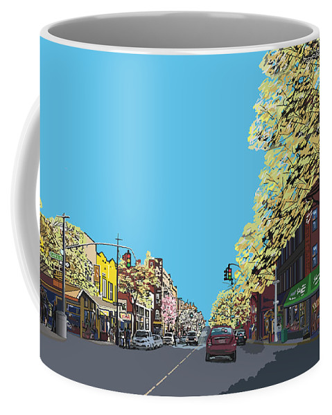 Landscape Coffee Mug featuring the digital art 5th Ave And Garfield Park Slope Brooklyn by James Mingo
