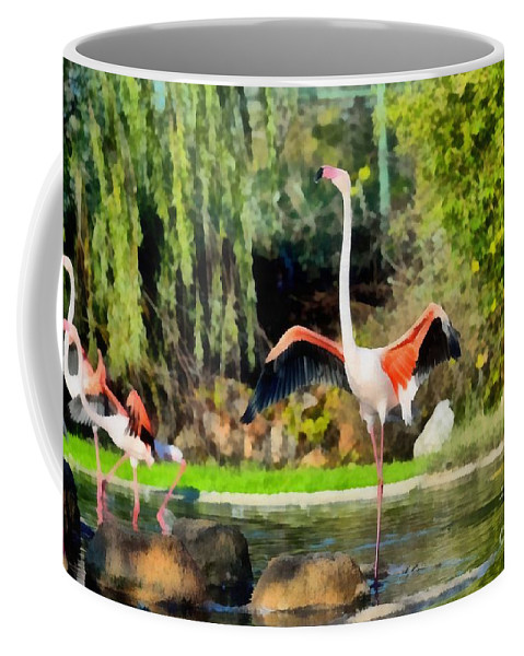Greater Flamingo Coffee Mug featuring the painting Greater Flamingos by George Atsametakis