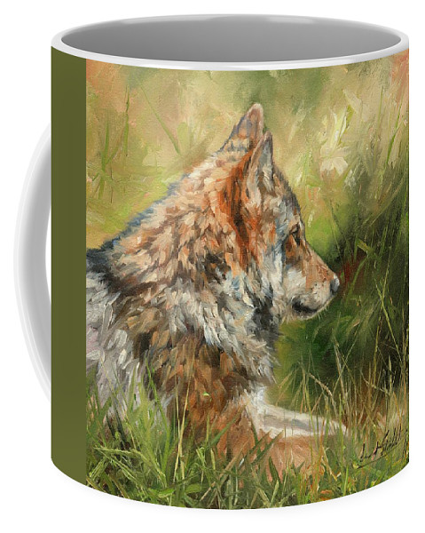 Wolf Coffee Mug featuring the painting Grey Wolf by David Stribbling