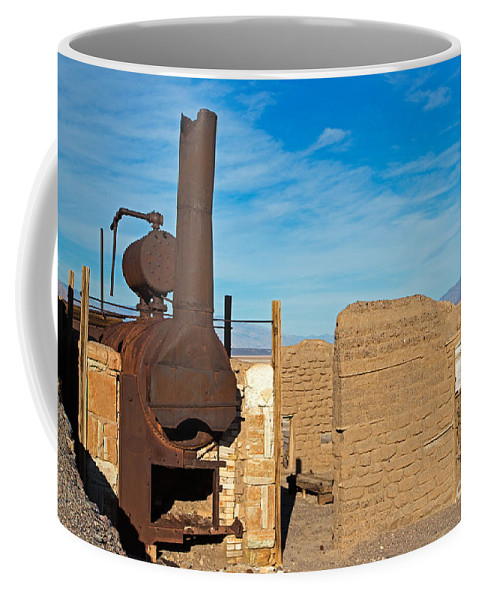 Amagosa Range Coffee Mug featuring the photograph Harmony Borax Works Death Valley National Park by Fred Stearns