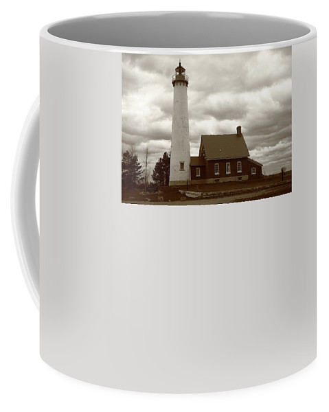 America Coffee Mug featuring the photograph Lighthouse - Tawas Point Michigan by Frank Romeo