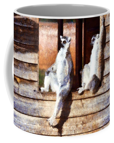 Ring Tailed Lemur Coffee Mug featuring the painting Ring Tailed Lemurs by George Atsametakis