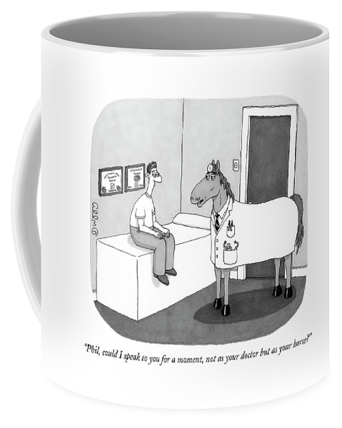 Doctor Coffee Mug featuring the drawing Phil, Could I Speak To You For A Moment, Not by J.C. Duffy