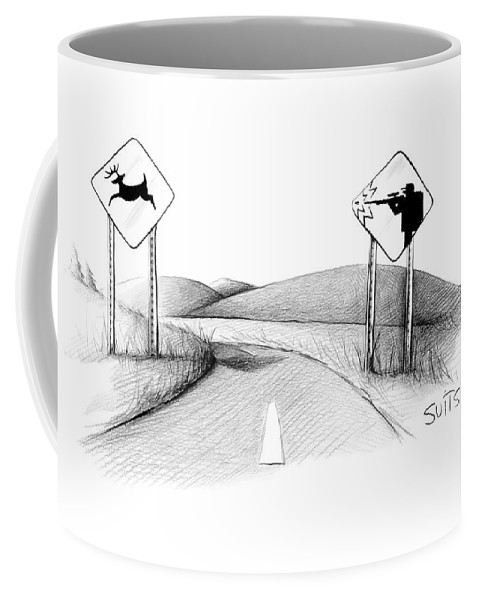 Sign Coffee Mug featuring the drawing New Yorker November 26th, 2007 by Julia Suits