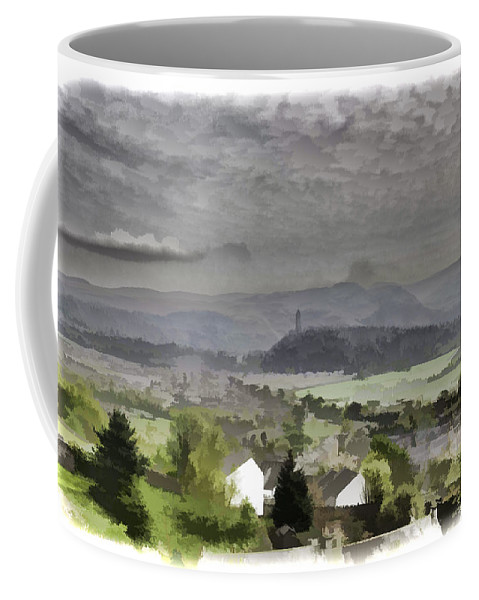 Action Coffee Mug featuring the photograph View Of Wallace Monument And Surrounding Areas by Ashish Agarwal