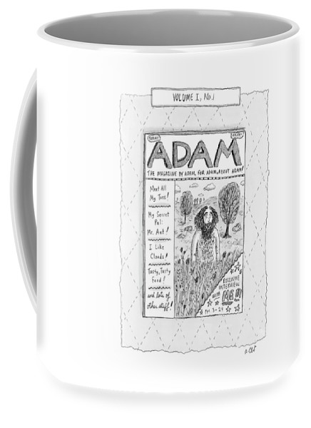 Adam Coffee Mug featuring the drawing New Yorker April 23rd, 2007 by Roz Chast