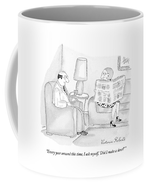 Couple Coffee Mug featuring the drawing Every Year Around This Time by Victoria Roberts