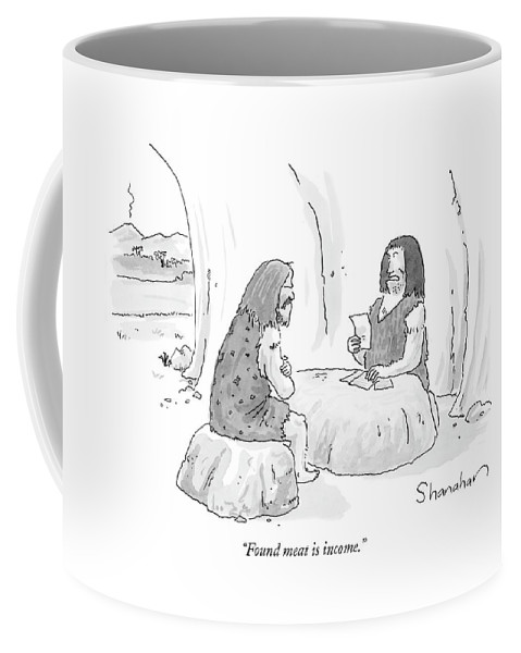 Stoneage Food Word Play Money  (caveman Tax Collector Talking To A Another Caveman.) 120817 Dsh Danny Shanahan Coffee Mug featuring the drawing Found Meat Is Income by Danny Shanahan