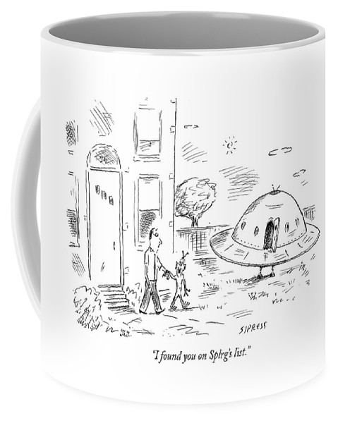 Online Coffee Mug featuring the drawing I Found You On Splrg's List by David Sipress