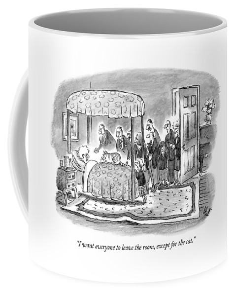 Pets Coffee Mug featuring the drawing I Want Everyone To Leave The Room by Frank Cotham