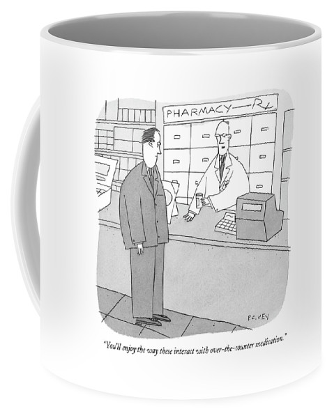 Consumerism Medical  (pharmacist Handing Prescriptions To Customer.) 122077   Pve Peter C Vey Peter Vey Pc Peter C. Vey P.c. Coffee Mug featuring the drawing You'll Enjoy The Way These Interact by Peter C. Vey