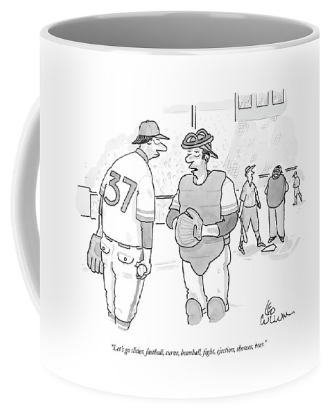 Sports Coffee Mug featuring the drawing Let's Go Slider by Leo Cullum