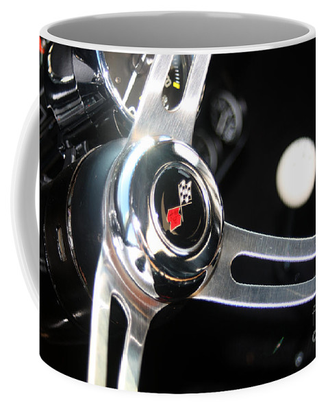 Chevy Coffee Mug featuring the photograph 67 Malibu Chevelle Steering Wheel-0055 by Gary Gingrich Galleries