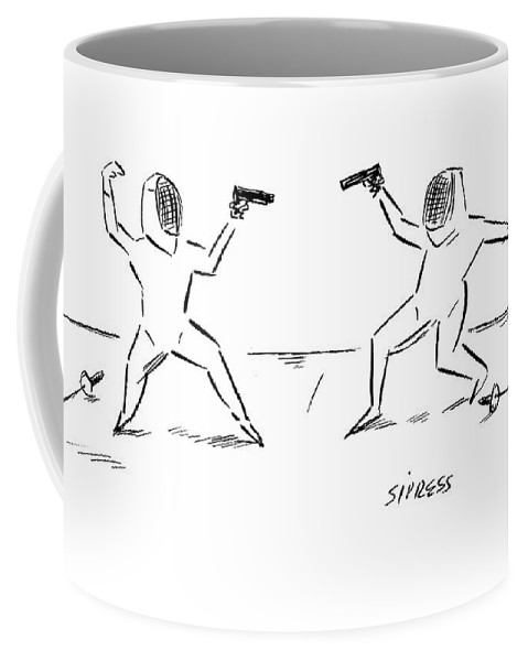 Duel Coffee Mug featuring the drawing New Yorker November 27th, 2006 by David Sipress