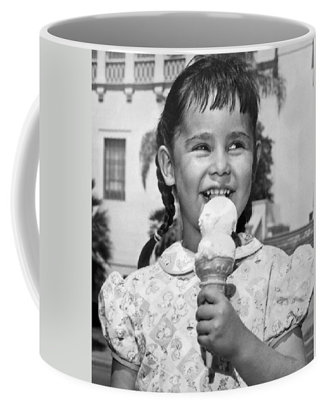 1948 Coffee Mug featuring the photograph Girl With Ice Cream Cone by Underwood Archives