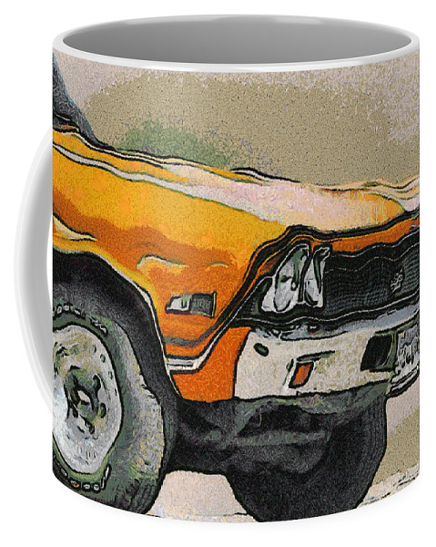 68 Chevelle Abstract Coffee Mug featuring the digital art 68 Chevelle Abstract by Ernie Echols