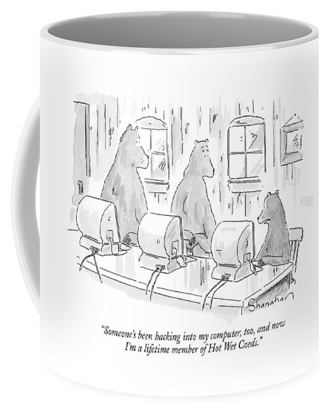 Fictional Characters Children's Stories Goldilocks And The Three Bears Technology Computers Internet   (baby Bear At A Computer To Momma And Papa Bear.) 120731 Dsh Danny Shanahan Coffee Mug featuring the drawing Someone's Been Hacking Into My Computer by Danny Shanahan