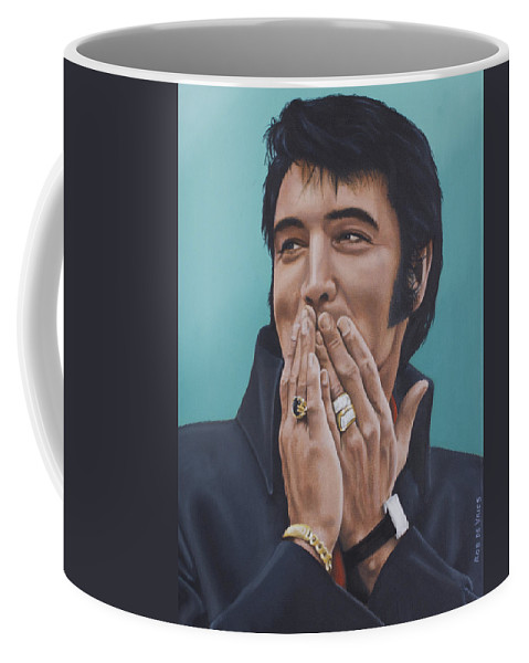 Elvis Coffee Mug featuring the painting 69 Press Conference by Rob De Vries