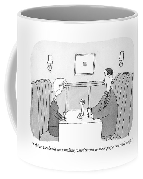 Relationships Problems Couple Dishonesty  (couple Talking At Restaurant Table.) 120996  Pve Peter C. Vey Peter Vey Pc Peter C. Vey P.c. Coffee Mug featuring the drawing I Think We Should Start Making Commitments by Peter C. Vey