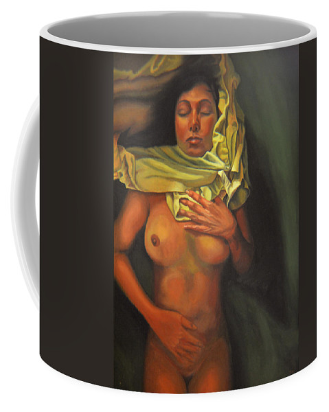 Sexual Coffee Mug featuring the painting 7 30 A.m. by Thu Nguyen