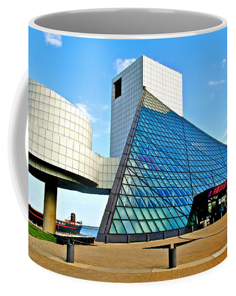 Rock Coffee Mug featuring the photograph Rock and Roll Hall of Fame by Frozen in Time Fine Art Photography