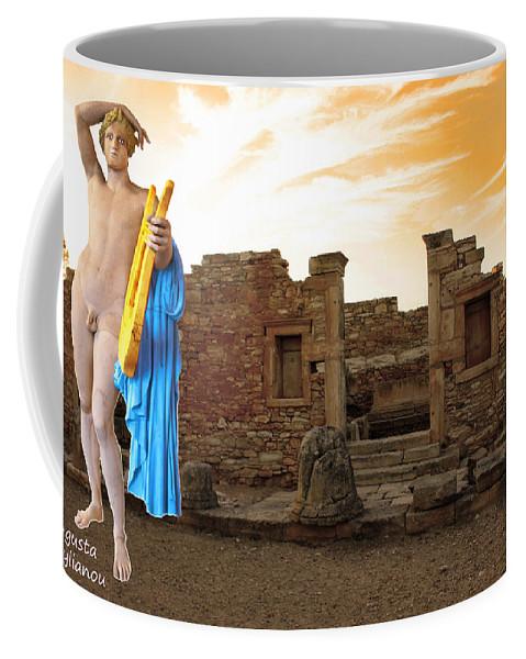 Augusta Stylianou Coffee Mug featuring the digital art The Palaestra - Apollo Sanctuary by Augusta Stylianou