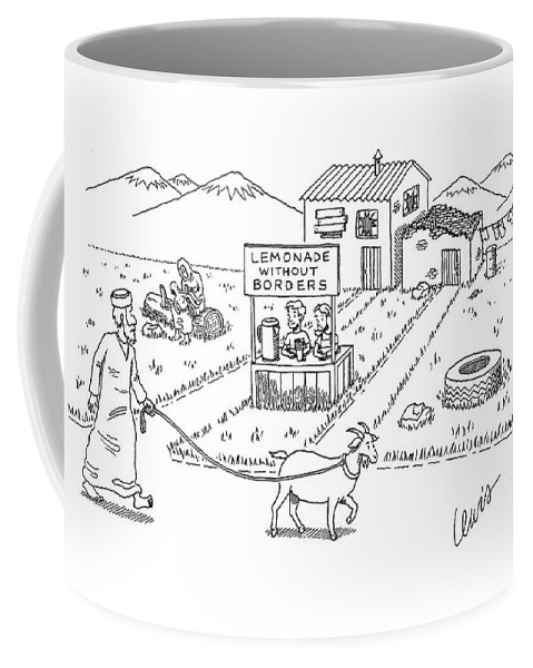 Regional Word Play (children In Iraq At A Lemonade Stand With Sign That Reads Coffee Mug featuring the drawing New Yorker April 18th, 2005 by Eric Lewis