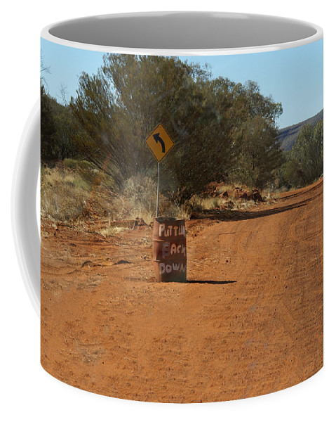 Red Center Coffee Mug featuring the digital art West Macdonald Range by Carol Ailles