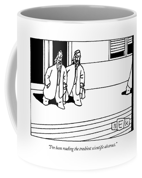 Science Literature Word Play Coffee Mug featuring the drawing I've Been Reading The Trashiest Scientific by Bruce Eric Kaplan