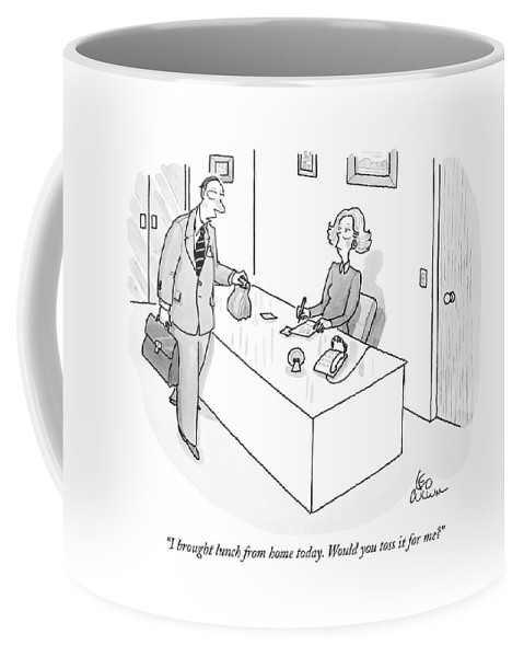 Low Cuisine Food Problems Word Play  (businessman Handing Bag-lunch To Secretary.) 121709 Lcu Leo Cullum Coffee Mug featuring the drawing I Brought Lunch From Home Today. Would You Toss by Leo Cullum