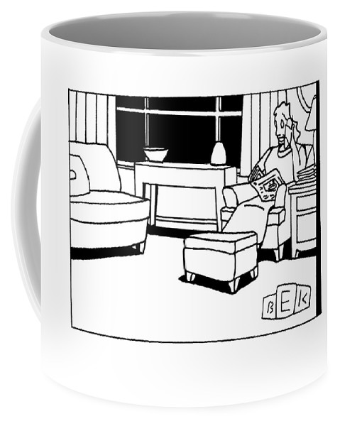 News Coffee Mug featuring the drawing I Like To Keep Up With All The Latest Things by Bruce Eric Kaplan