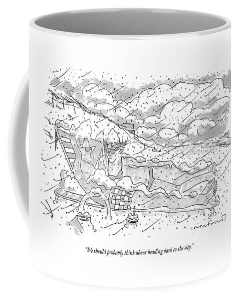 Seasons Winter Problems Vacations Leisure  (couple In Their Bathing Suits Coffee Mug featuring the drawing We Should Probably Think About Heading Back by Michael Crawford