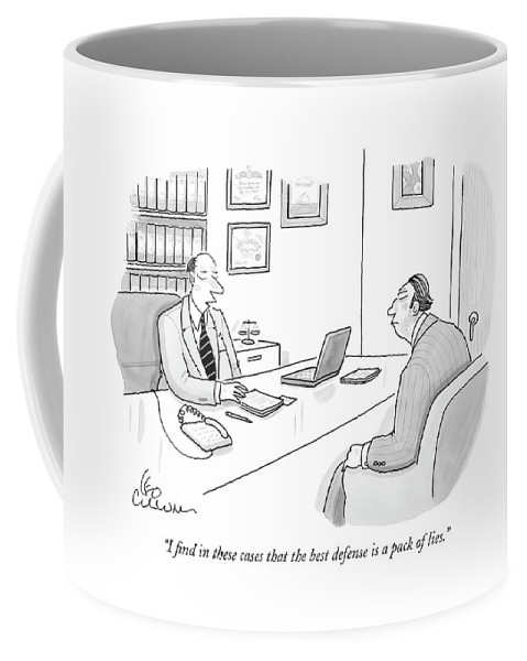 Lawyers Law Word Play Ethics Word Play  (lawyer Meeting With His Client.) 120786 Lcu Leo Cullum Coffee Mug featuring the drawing I Find In These Cases That The Best Defense by Leo Cullum