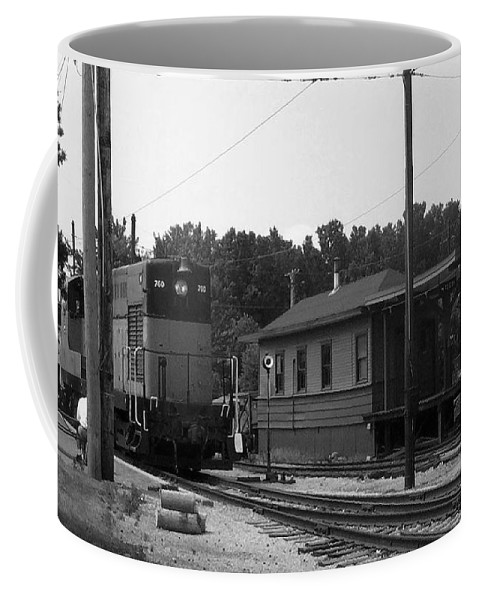 Locomotive Coffee Mug featuring the photograph 760 Passing The Yard House Bw by Thomas Woolworth