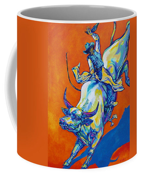 Cowboy Coffee Mug featuring the painting 8 Second Insanity by Derrick Higgins