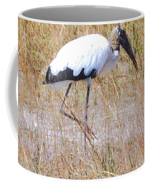 Wading For Food Coffee Mug featuring the photograph Wood Stork by Robert Floyd