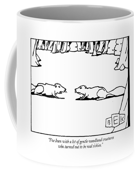 Word Play Squirrels Talking Relationships Coffee Mug featuring the drawing I've Been With A Lot Of Gentle Woodland Creatures by Bruce Eric Kaplan