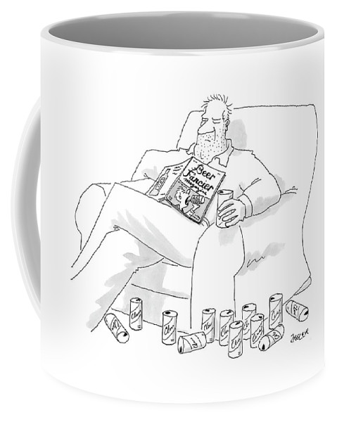 Interiors Drinking Alcohol Magazines Literature  (man Coffee Mug featuring the drawing New Yorker July 25th, 2005 by Jack Ziegler
