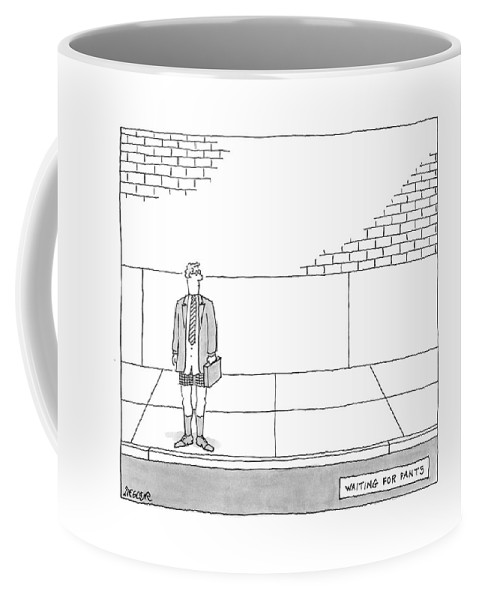 Waiting Coffee Mug featuring the drawing New Yorker July 9th, 2007 by Jack Ziegler