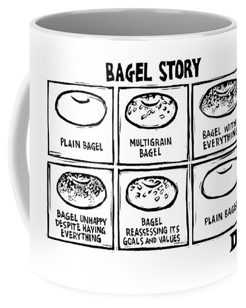 Bagel Story Coffee Mug featuring the drawing New Yorker January 28th, 2008 by Drew Dernavich