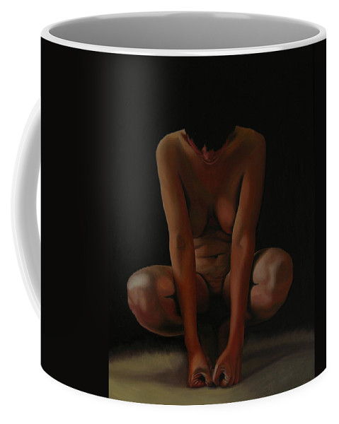 Nude Coffee Mug featuring the painting 9 Am by Thu Nguyen