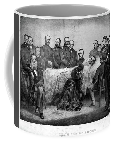 1865 Coffee Mug featuring the painting Death Of Lincoln, 1865 by Granger