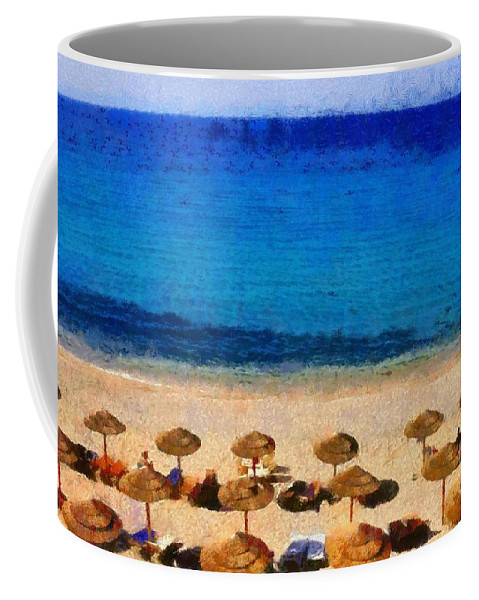 Mykonos; Mikonos; Beach; Elia; Greece; Hellas; Cyclades; Kyklades; Greek; Hellenic; Aegean; Island; Sand; Sea; People; Tourists; Sunbathing; Suntanning; Suntan; Tanning; Relaxing; Relaxation; Umbrellas; Sunshades; Parasols; Sunbeds; Seabeds; Clear Water Coffee Mug featuring the painting Elia Beach by George Atsametakis