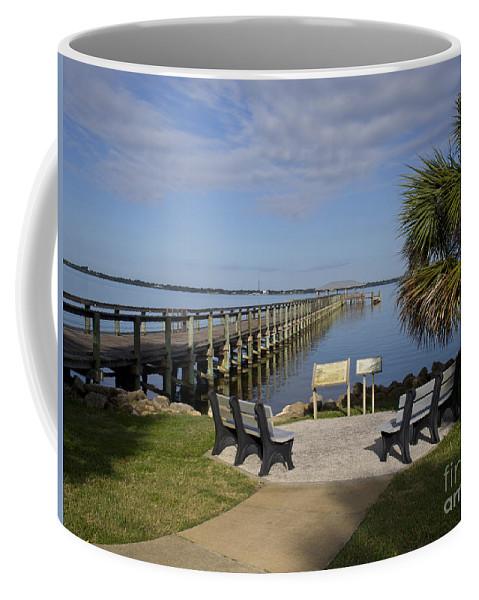 Florida Coffee Mug featuring the photograph Melbourne Beach Pier In Florida by Allan Hughes