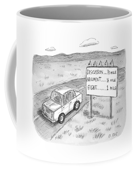Argument Coffee Mug featuring the drawing New Yorker August 1st, 2016 by Roz Chast