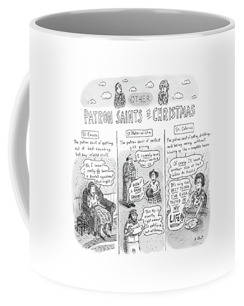 Christmas Coffee Mug featuring the drawing New Yorker December 11th, 2006 by Roz Chast