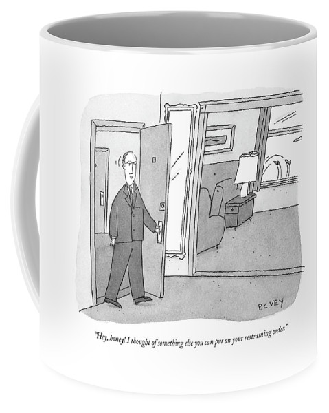 Relationships Problems Divorce Marriage  (husband Walks In Apartment Door Coffee Mug featuring the drawing Hey, Honey! I Thought Of Something Else by Peter C. Vey