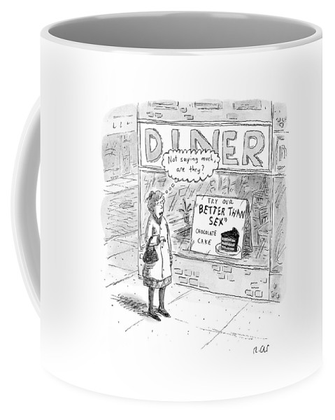 Captionless. Sex Coffee Mug featuring the drawing Captionless by Roz Chast